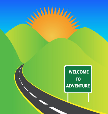Sunset landscape vector: Road to sun adventure logo vector stock Hình minh hoạ
