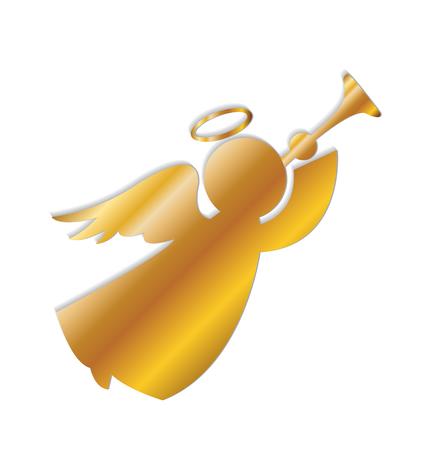 Christmas Gold Angel Icon Vector Image Logo