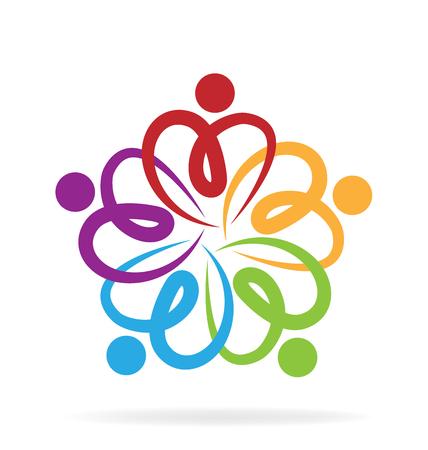 manos logo: El trabajo en equipo de la mano de logotipo. Corazón concepto de unión de amor Vectores