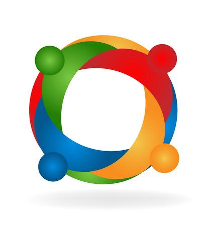 together voluntary: Teamwork hug people logo vector. Concept of unity