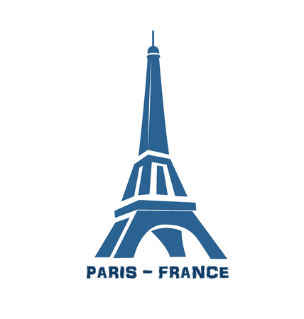 Eiffel tower logo on the white Illustration