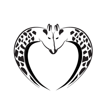 Giraffe love heart tattoo  Çizim