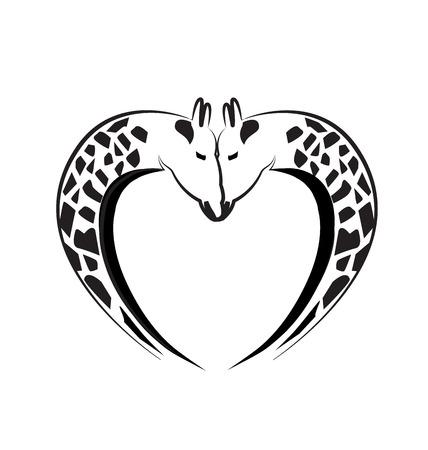 camelopardalis: Giraffe love heart tattoo  Illustration