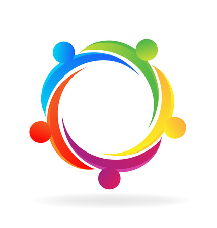 Teamwork hug people logo vector. Concept of unity