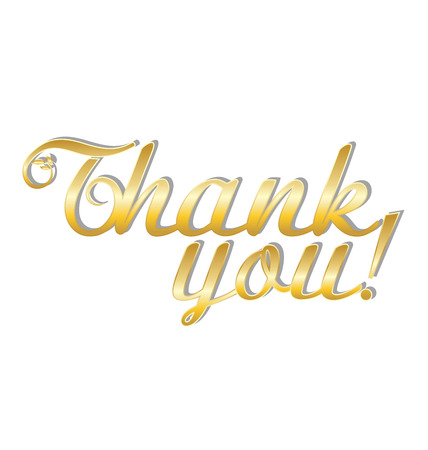 Thank you gold text on white background