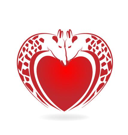 camelopardalis: Giraffes in love heart tattoo logo vector