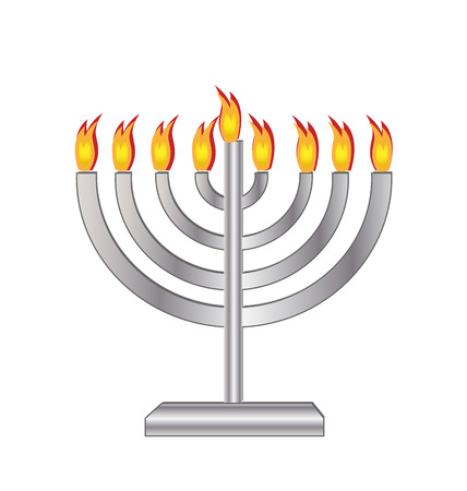 hanukah: Jewish holiday. Hanukkah menora with candles Illustration