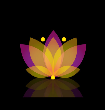 flower logo: Logo lotus purple and gold flower vector Illustration