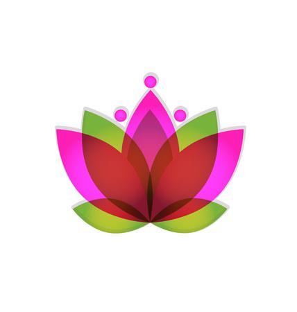 Logo lotus pink flower vector