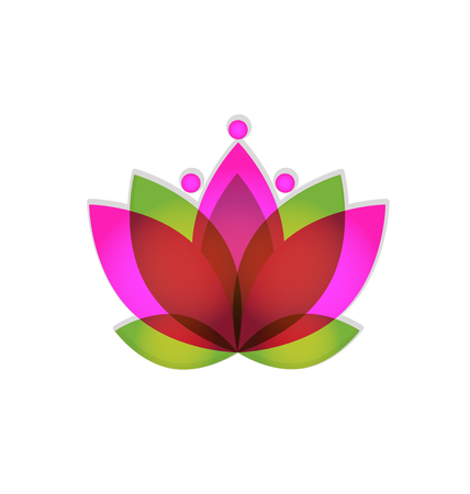 Logo lotus pink flower vector