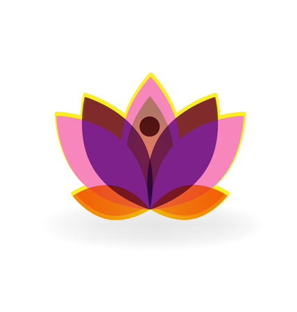 Logo lotus purple flower vector