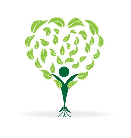 Forme de coeur arbre. Ecology concept icône du design de logo vecteur