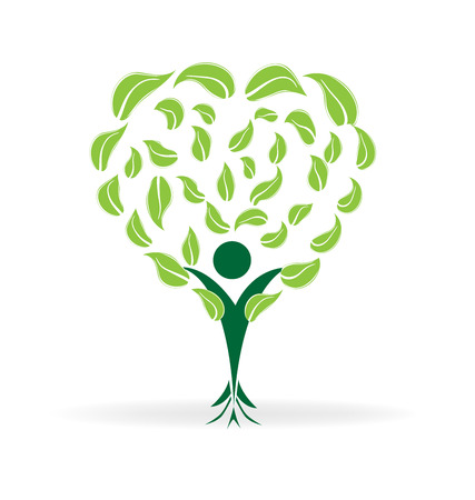 plantando arbol: la forma del corazón del árbol. Ecología concepto de diseño icono de vector logo Vectores
