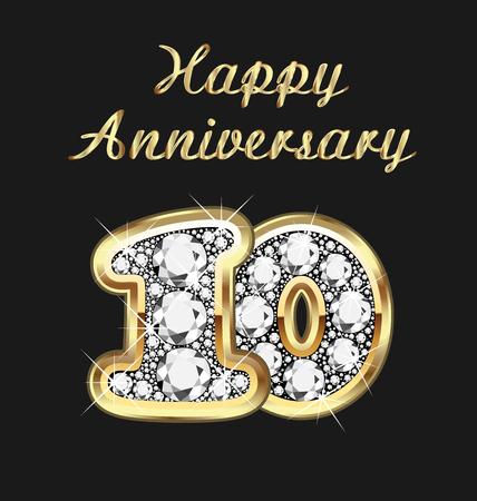joyas de oro: 10 años aniversario en oro y diamantes Vectores