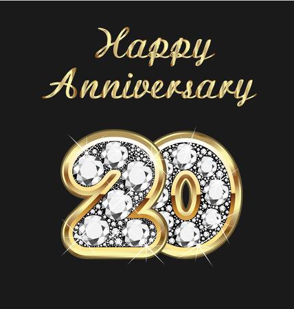 20 years anniversary birthday in gold and diamonds Vettoriali