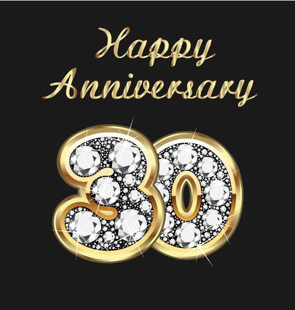 anniversario matrimonio: 30 ° anniversario di compleanno in oro e diamanti