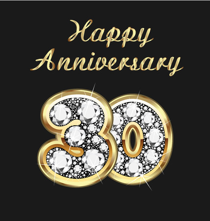 30 years anniversary birthday in gold and diamonds