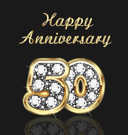 50 Jahre Jubiläum Geburtstag in Gold und Diamanten Standard-Bild - 49110086