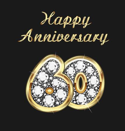 anniversario matrimonio: 60 ° anniversario di compleanno in oro e diamanti Vettoriali