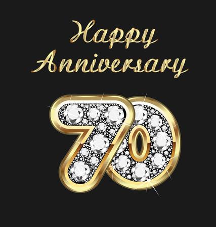 seventieth: 70 years anniversary birthday in gold and diamonds Illustration