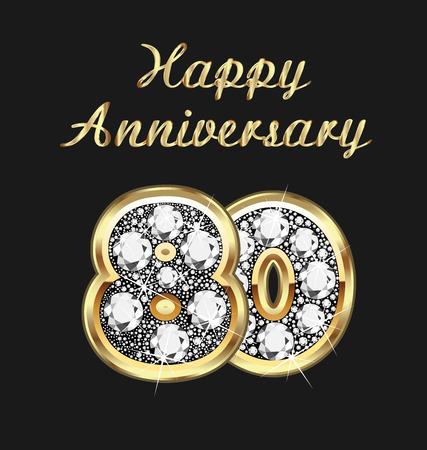 anniversario matrimonio: 80 ° anniversario di compleanno in oro e diamanti Vettoriali