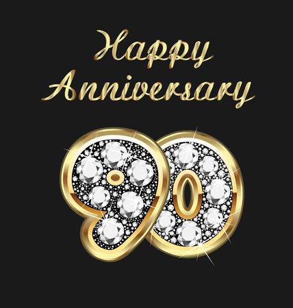 joyas de oro: 90 años aniversario en oro y diamantes Vectores
