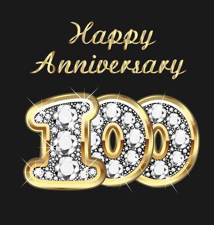 jewerly: 100 years anniversary birthday in gold and diamonds