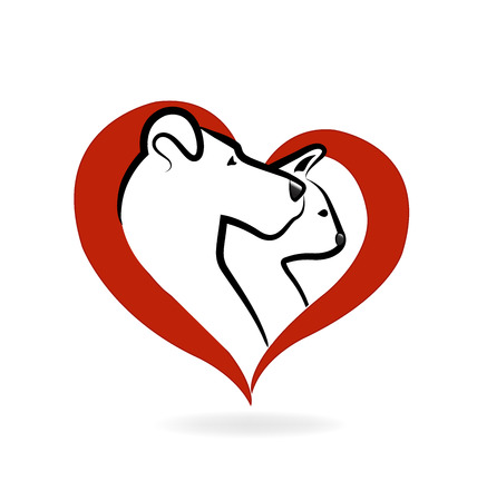 Cat and dog logo heart love icon vector design Illustration