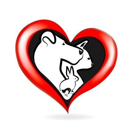 Chien de Cat conception icône vecteur de l'amour logo lapin oiseau de coeur