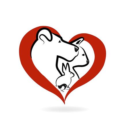 猫犬ウサギ鳥ロゴ心愛のアイコン ベクトル デザイン