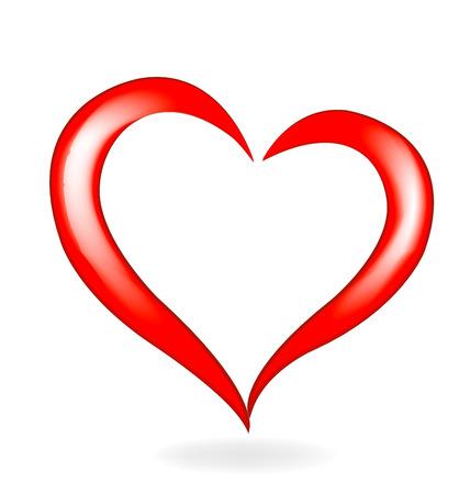발렌타인 데이 사랑 심장 아이콘 로고 벡터 일러스트