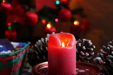 free image: Christmas decoration with candles bokeh background