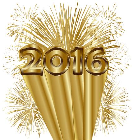 ゴールド背景のベクトルで新年あけましておめでとうございます 2016 花火