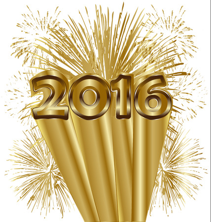 Happy new year 2016 fireworks in gold background vector Illustration