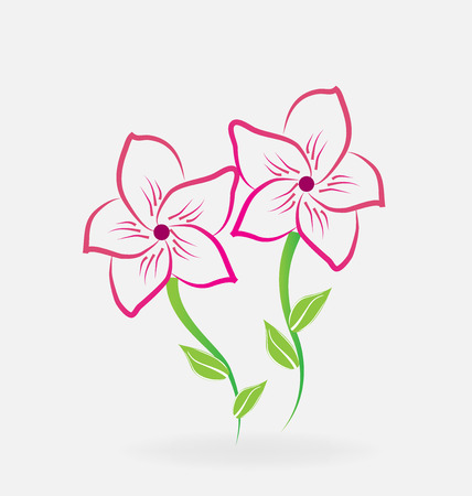 Lotus stylized lilies logo vector