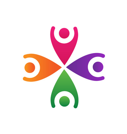 hi five: Happy business friends teamwork logo vector icon design