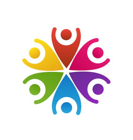 hands up: Happy people teamwork logo vector