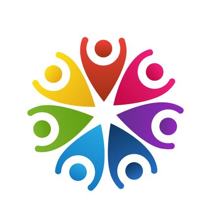 hi five: Happy people teamwork logo vector
