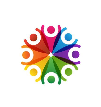 non stock: Happy people teamwork logo vector