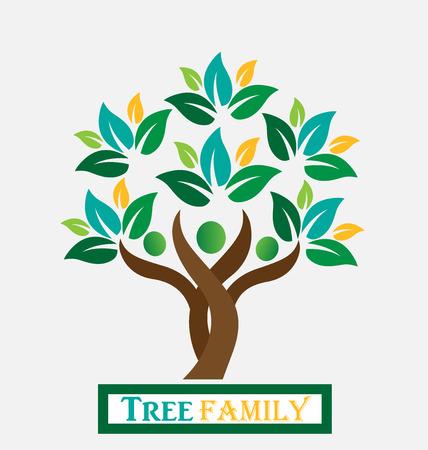Árbol de las personas hojas verdes. Insignia de la ecología concepto de diseño del vector del icono Vectores