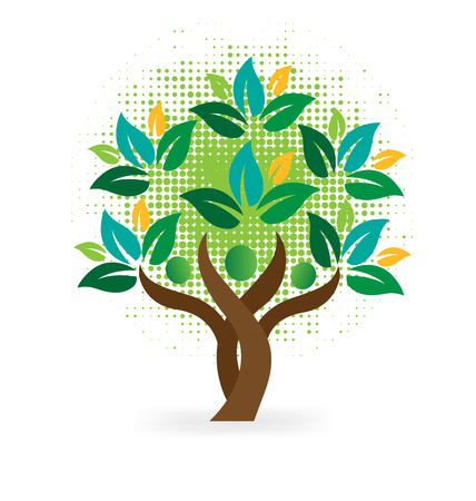 wellness environment: Tree family people green leafs . Ecology logo concept icon vector design