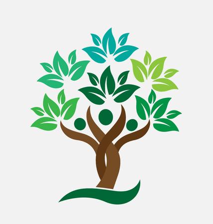 albero della vita: Albero genealogico persone foglie verdi. Marchio di ecologia concetto icona disegno vettoriale Vettoriali