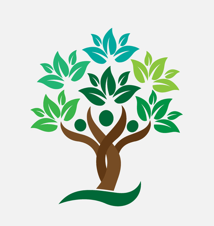 arbol genealógico: Las personas de la familia del árbol de hojas verdes. Concepto de diseño de iconos de vectores Ecología logo