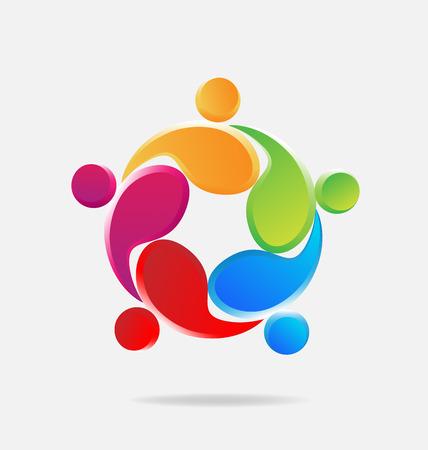 logos de empresas: El trabajo en equipo logotipo abrazando a la gente