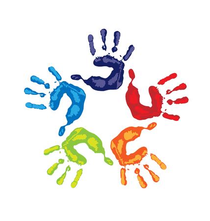 identidad cultural: manos de trabajo en equipo logotipo de colores vivos vector de la tarjeta Vectores