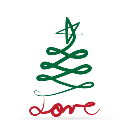 Christmas tree and love text Illustration