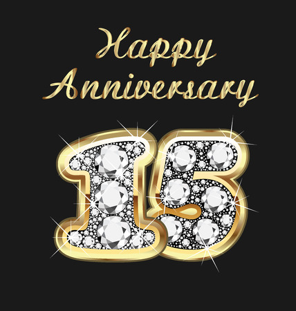 15: 15 years anniversary birthday in gold and diamonds Illustration