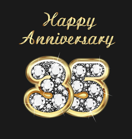 35: 35 years anniversary birthday in gold and diamonds Illustration