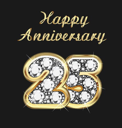 25: 25 years anniversary birthday in gold and diamonds