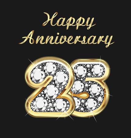 25 years anniversary birthday in gold and diamonds
